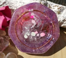 Orgonite oplaadschijf lila 6,8 cm