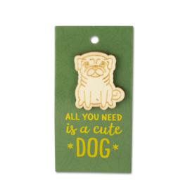 Houten Broche op cadeaukaartje - cute Dog