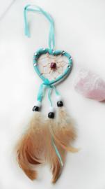 Dromenvanger - blauw - hart - met stras - 5,5cm
