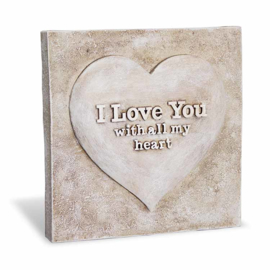 Decoratie tegel - I love you - Home & Garden - 16,5 cm