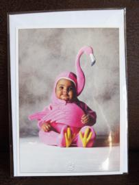 Postkaart met envelop - Flamingo - Baby - 10,5 x 15 cm