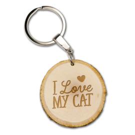 Sleutelhanger -I love my cat - Boomstam - 5 cm