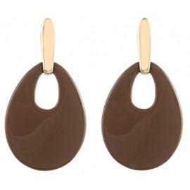 Statement oorbellen - bruin - goud - 5,5cm