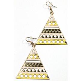 Oorbellen - Triangel - 7 cm - geel