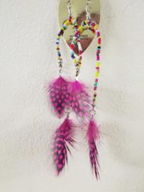 Oorbellen - Boho - roze - veren - 14 cm