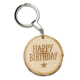 Sleutelhanger - Happy Birthday - Boomstam - 5 cm