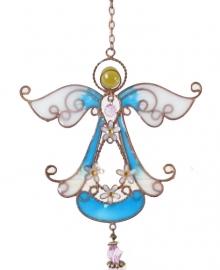 Engel met bloemen windgong donkerblauw