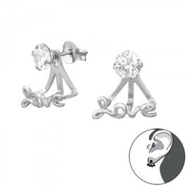 Oorbellen - Ear Jassen - Love - 925 Sterling Zilver - met kristal