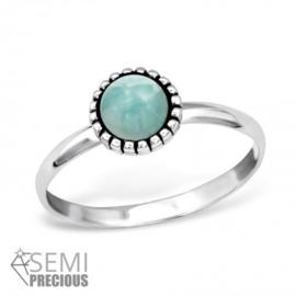 Ring - Amazoniet - ronde steen - 925 Sterling Zilver - maat 8