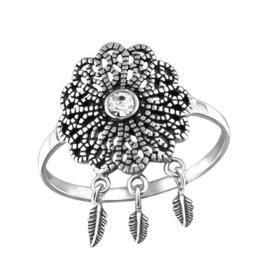 Ring - Zirconia bloem - 925 Sterling Zilver - Maat 7