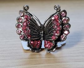 Ring - Vlinder - Metaal - Verstelbaar Roze