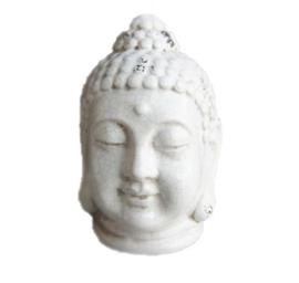 Boeddha - hoofd - 24 cm - tuinbeeld- creme