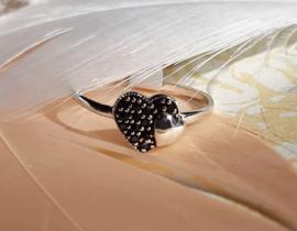 Ring - Dubbel hart - 925 Sterling Zilver - Maat 8