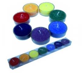 Chakra Waxinelicht geurkaarsen in houder 7 stuks