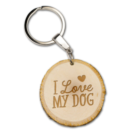Sleutelhanger -I love my dog - Boomstam - 5 cm