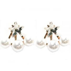 Oorbellen - Pearls & Star - 2cm - goudkleur