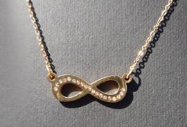 Ketting - Stainless Steel - Infinity - goudkleur met strass