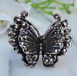 Ring - Vlinder - Metaal - Verstelbaar - Grijs/zwart