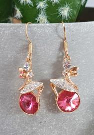Oorbellen - hanger - Elfje op strass - goud - roze