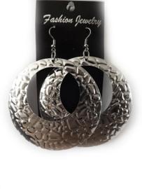 Oorbellen - Rond - Zilverkleur - 7 cm