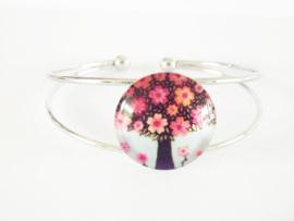 Armband - Cabochon - Levensboom  met bloemen