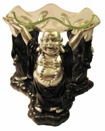 Oliebrander  - Blije Boeddha - zwart - zilver - met glas - 12 cm