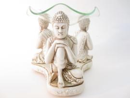 Oliebrander - 3 slapende Boeddha's - wit