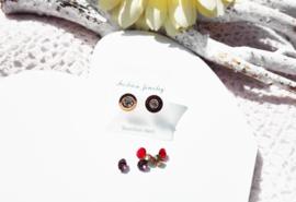 Oorbellen - Studs - rond - met verwisselbare strass steentjes - RVS