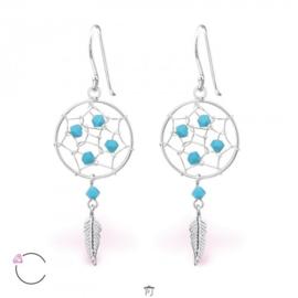Oorbellen - La Crystale - Dromenvanger met kristallen van SWAROVSKI® - 925 STERLING ZILVER