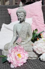 Beeld - Boeddha - handreiking aarde - Steengrijs - 39 cm