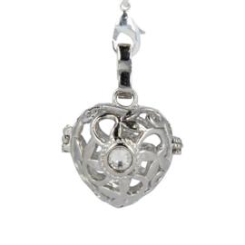 Engelenroeper - hart - 16 mm - zilverkleur  - met strass
