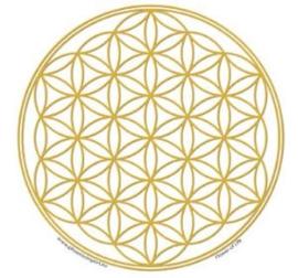 Raamsticker - Bloem des levens - goud - 10,5cm