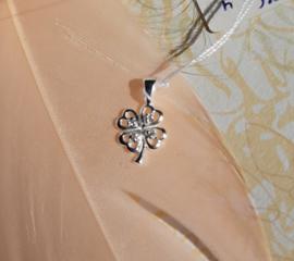 Hanger - Klavertje vier met zirconia - 925 Sterling Zilver