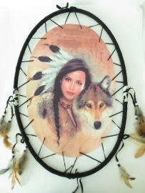 Dreamcatcher - Indian woman - with wolf - 54.5 cm