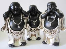 Horen, zien, zwijgen Boeddha zilver/zwart staand