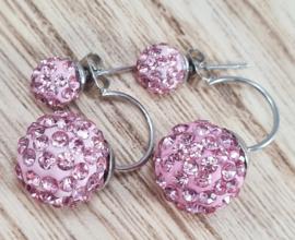 Oorbellen - Telinga - twee bollen - roze strass