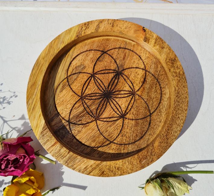 Seed of life - Grid - Mango hout - 15cm - opstaande rand