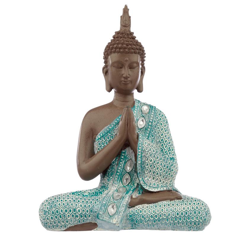 Beeld - Thaise Boeddha - Meditatie - Bruin verdigris - 28 cm