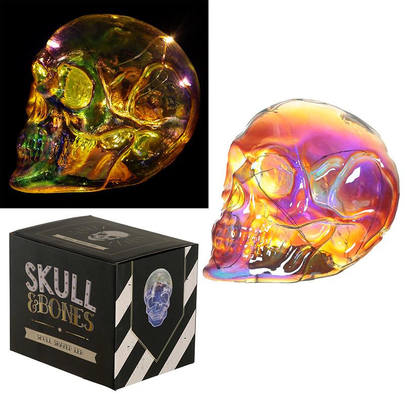 Schedel - Schitter Regenboog LED Schedel - Skull & Bones - 13,5 cm