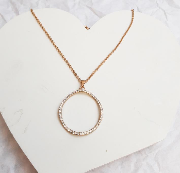 Ketting - Cirkel - Gold Plated met kristallen