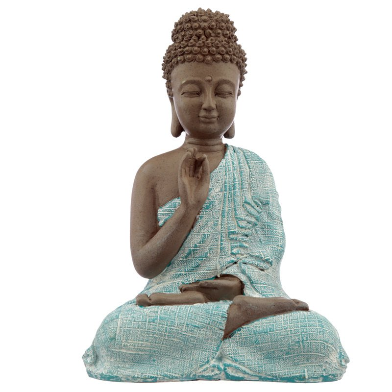 Beeld - Thaise Boeddha - Meditation - 23cm - Bruin - Verdegris