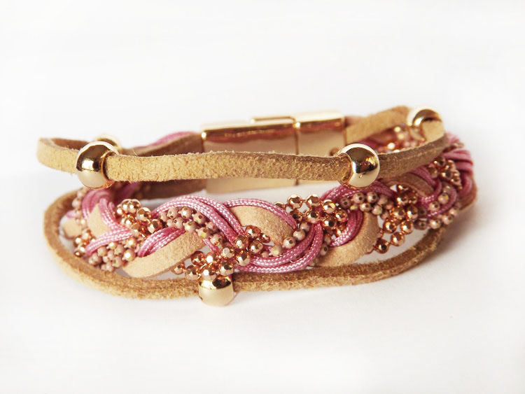 Armband- bruin - gevlochten