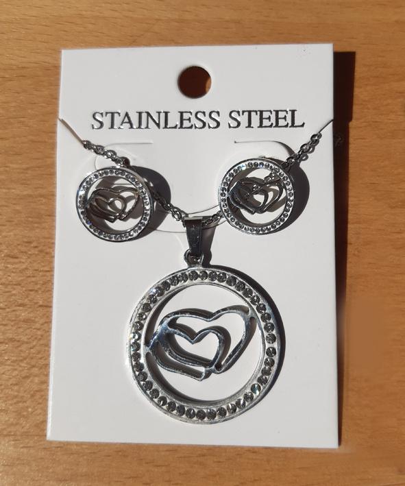 Dubbele Harten met strass - sieraden set - ketting met oorbellen - RVS