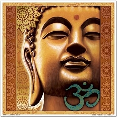 Raamsticker - Gouden Boeddha - 18 cm