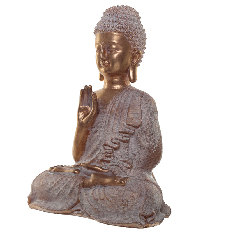 Beeld - Thaise Boeddha - Spiritualiteit - 36cm - goud met wit