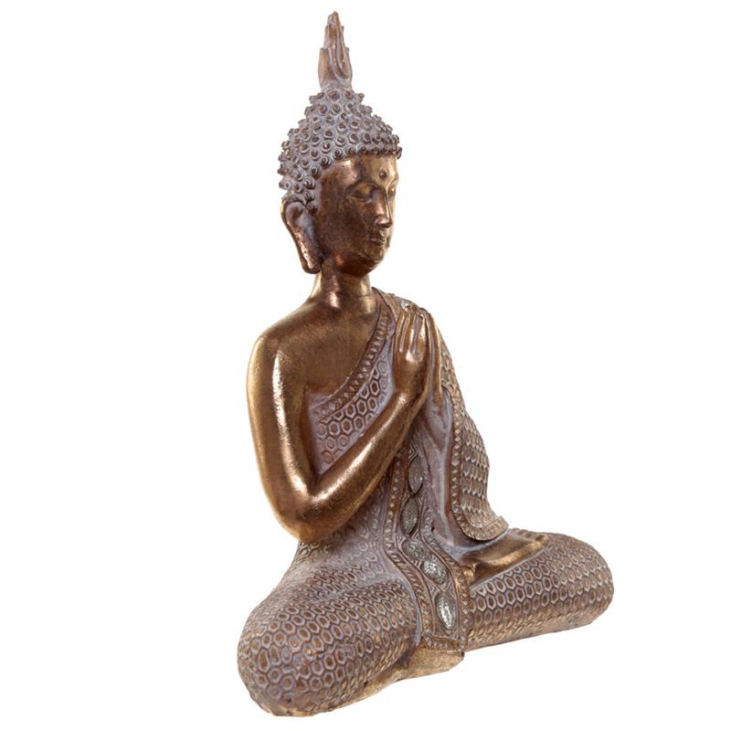 Beeld - Thaise Boeddha - lotus - wit met goud - 28 cm