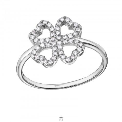 Ring - Lucky Klaver  - Zirconia - 925 Sterling Zilver - maat 7