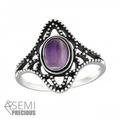Ring - Ovaal - 925 Sterling Zilver - Amethist - Maat 7