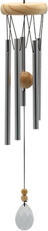 Windgong - Aluminium met hout - druppel - 48 cm