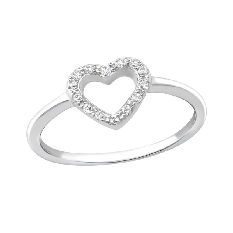 Ring - Open your heart - Zirconia - 925 Sterling Zilver - Maat 6
